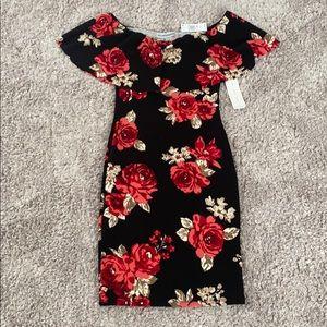 Off-the-Shoulder Black Rose Pattern Dress
